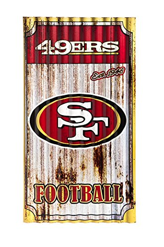 Team Sports America NFL San Francisco 49ers Corrugated Metal Wall Art, Small, - Art Nfl