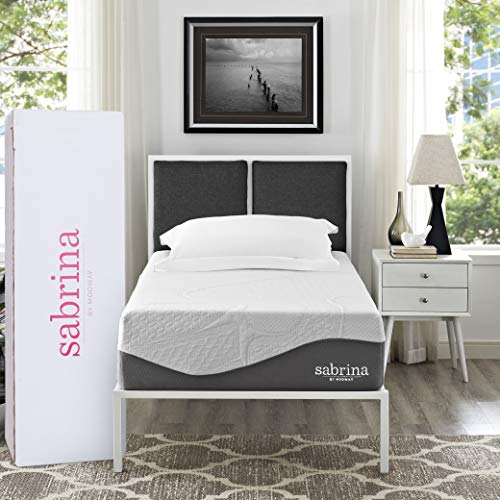 """Modway Sabrina 12"""" Latex Air Gel Cooling Memory Twin Mattress with CertiPUR-US Certified Foam-Luxury Firm Mattress-10-Year Warranty"""