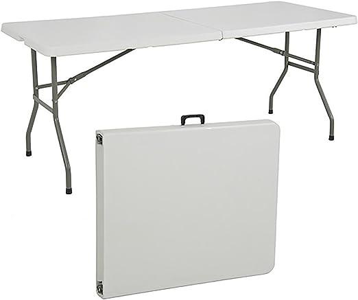 Mesa plegable a maletín de dura resina y metal cm.180 x 75 x 74h ...