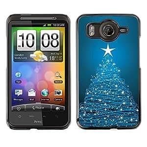 YOYO Slim PC / Aluminium Case Cover Armor Shell Portection //Christmas Holiday Blue Tree & Stars 1129 //HTC G10