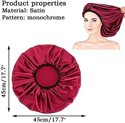 Black Noverlife Silky Satin Night Cap Soft Sleep Cap to Protect Hair Satin Hair Bonnets Cancer Hat Chemo Cap for Women Girls Ladies