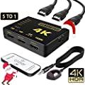 E-sports Intelligent 5-Port HDMI Switch, Supports 4K, Full HD1080p, 3D with IR Remote (Black-5Port)