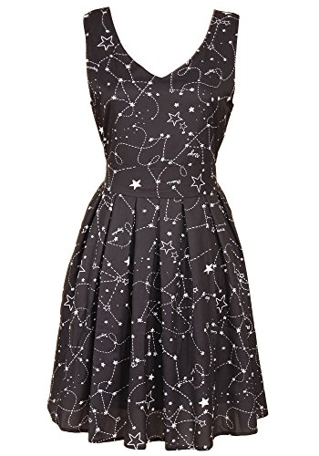 Sidecca Womens Retro Novelty Planets & Stars Printed Sleeveless A-Line Dress (Large, Star Map V-Neck (Black))