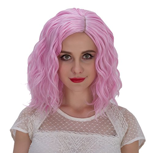 Alacos Fashion 35cm Short Curly Wavy Full Head Wig Heat Resistant Daily Dress Carnival Party Masquerade Anime Cosplay Wig Hair (Pale Pink-Purple)