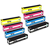 ESTON 8 Pack Replacement for HP 974X PageWide Ink Cartridge High Yield Black Cyan Magenta Yellow Fit Impresora pagewide pro 452dn/dw pagewideMFP 477dn/dw ,pagewidePro 552dw