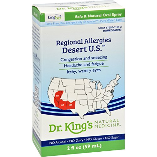 King Bio Homeopathic Regional Allergy - Desert - Safe and Natural Oral Spray - Gluten Free - 2 oz (Pack of 2)