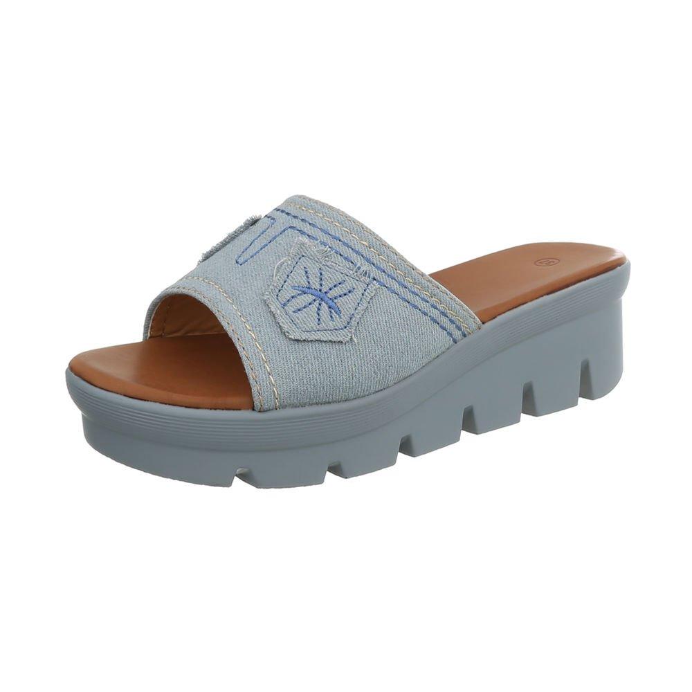 Ital-Design Damenschuhe Sandalen  Sandaletten Pantoletten  36 EU|Hellblau S17125lk-