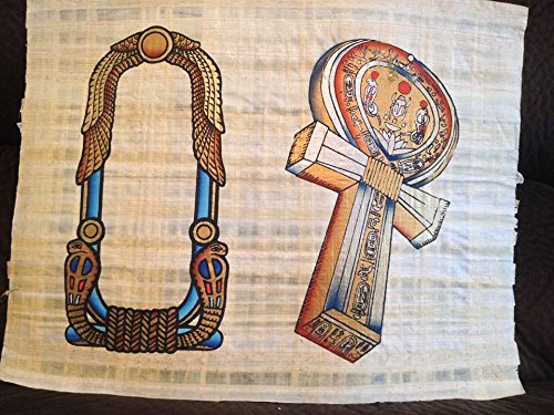 (Huge Ancient Egyptian Ankh Key of Life & Cartouche Papyrus Art Painting Collectible From Egypt..bring Power and Protection Your Way!)