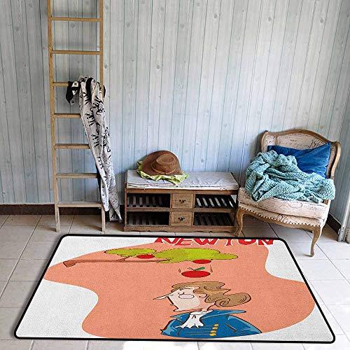 Large Door mat,Educational Cute Isaac Newton Sitting Under an Apple Tree Revelation History Funny Cartoon,Anti-Slip Doormat Footpad Machine Washable,4'7