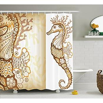 Amazon Com Ambesonne Animal Decor Shower Curtain Seahorse Figure