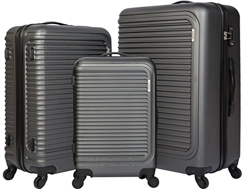 cheergo Luggage 3 Piece Set Suitcase ABS Material PC Hardside 20 24 28 Spinner Grey (Hardside Metal Luggage)
