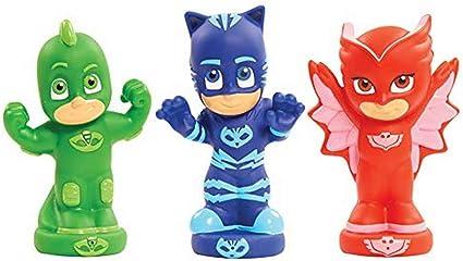 Pyjamasques- 3 Figuras de aspersor de baño. (GIOCHI PREZIOSI PJM11)