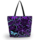 ICOLOR Reusable Grocery Bags Hand Bags Totes, Foldable Handbags Grocery Tote Beach Bag Shopping Bags Zipper Bags for Women Men Girls, Washable, Durable and Lightweight Blue Butterfly(GWB-29)