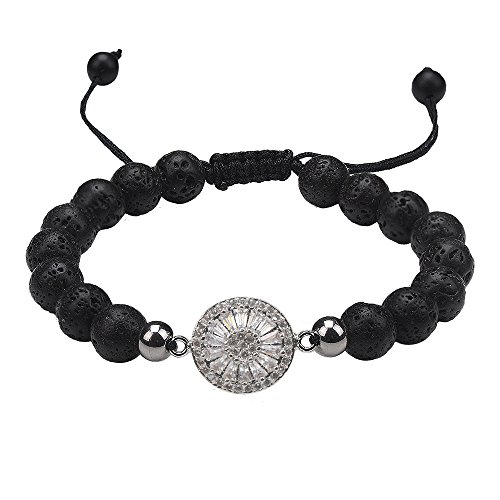 Jeka Healing Beaded Dainty Wheel Circle Bracele Lucky Silver Round Charm Adjustable 8mm Natural Lava Rock Stone Yoga Essential Oil Diffuser for Women Girl Lady Energy Chakra Religious Mala (Circle Oil Diffuser)