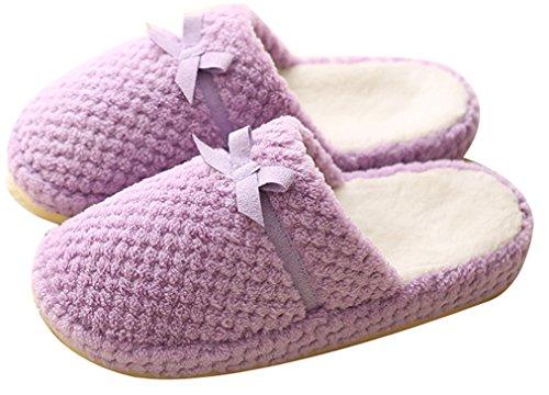 Blubi Womens Bows Deco Fleece Bedroom Slippers Warm Home Slippers Purple 2 oZtApe