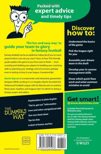 Fantasy Football For Dummies Martin Signore 9780470125076 Amazon