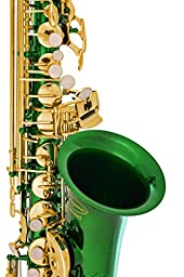 Lazarro 360-GR E-Flat Eb Alto Saxophone Royal Green, Gold Keys with Case, 11 Reeds, Care Kit and Many Extras