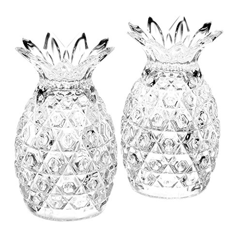 (King International 100% Crystal Glass Pineapple Shaped Salt and Pepper | Set of 2 Pieces 8 cm | with Sturdy stopper | Salt and Pepper Shakers for Adjustable Coarseness)