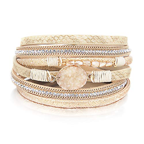 Gold 2 Wrap Bracelet Boho Jewelry Cuff Bracelet Crystal Bead Bracelet Rhinestone Handmade Bangle Braided Magnetic Clasp Bracelet Multi Strand Bracelet for Women Girl Men