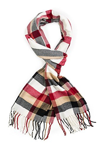 Plum Feathers Super Soft Luxurious Cashmere Feel Winter Scarf WhiteRed Plaid