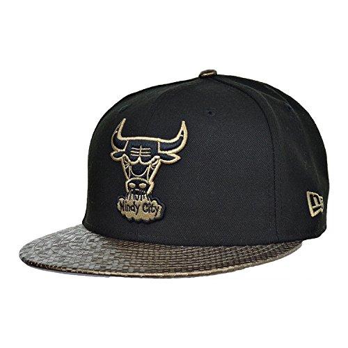 Bull Tile - New Era Chicago Bulls 59Fifty Tile Vize Fitted Men's Cap Hat Black/Gold 80239638 (Size 7 3/8)