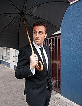 Shedrain Umbrellas Ombrelli Italian Stick Umbrella, Black Foulard, One Size 3