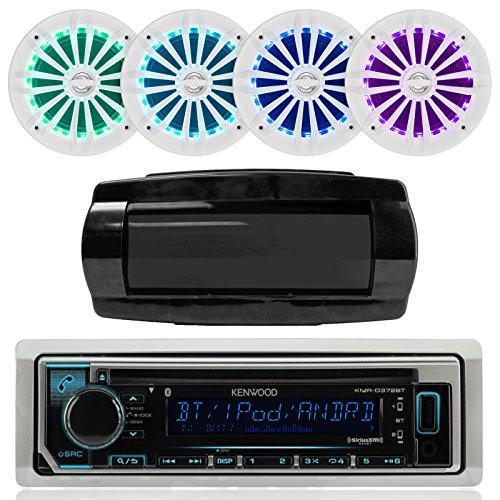 """Kenwood Single DIN Bluetooth In-Dash CD/AM/FM/Digital Media Marine Stereo Receiver, 4x Enrock 6.5"""" White 200W Marine Speakers w/ LED Illumination and Remote Control, SeaWorthy Radio Cover -  Kenwood - Enrock - Seaworthy, KMRD372BT-2EMRGB265W-RTR700"""