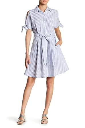 8bcb7d887 Hope & Harlow Sufi Striped Poplin Shirt Dress, Blue/White - 10 at ...