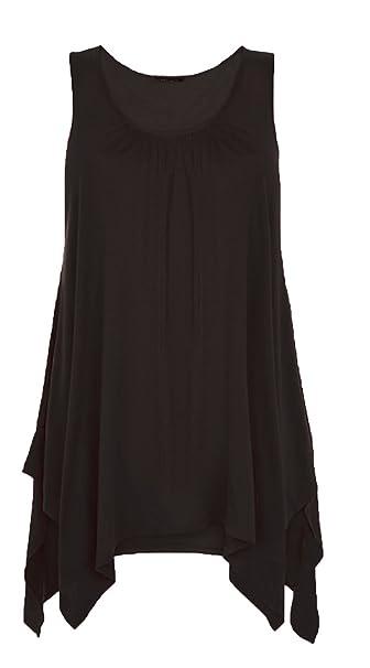66e5c6408fe Womens Hanky TOP Summer Gathered Ladies Plus Size 18 20 22 24 26 Vest Hem  Flared Plain Printed Swing  Amazon.co.uk  Clothing