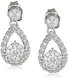 Pendientes de lágrima de diamantes de oro blanco de 14 k (1/2 cttw, HI Color, I2 Clarity)