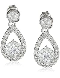 14k White Gold Diamond Teardrop Earrings (1/2 cttw, H-I Color, I2 Clarity)