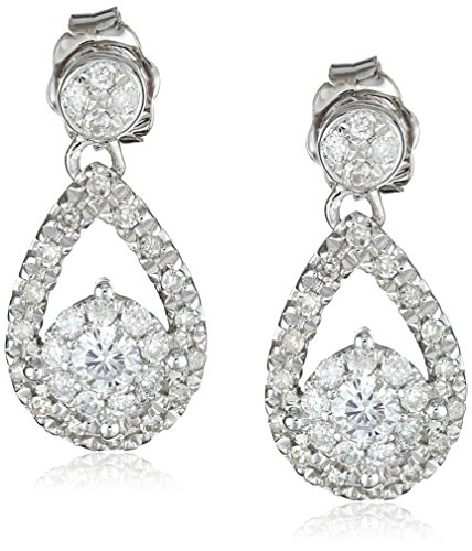 14k White Gold Diamond Teardrop Earrings (1/2 cttw, H-I Color, I2 Clarity) by Amazon Collection