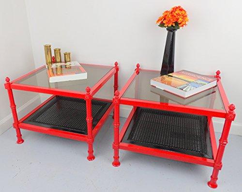Red End Tables Mid Century Metal Nightstands MCM