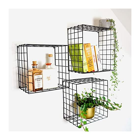 Kimisty Set of 3 Metal Floating Shelves | Decorative Wire Large Square Wall Mounted Shelf | Box Free Floating Mesh Shelves | Industrial Style Deep Black Metal Shelving | 14, 12, 11 Inch Long - FUNCTIONALITY AND STYLE: Kimisty ROOT floating shelf set is perfect way to display your plants, books, glassware and any other kind of shelf decor. Hang them linear or vertical or be playful and use them by hanging cross. No matter how you style them it will be a memorable decoration piece in your home and will collect many compliments. INDUSTRIAL TREND: Industrial interior trend is not leaving us soon. And we love how it adds modern touch to your space so easily and effortlessly. ROOT shelves are deep and large unlike other models out there. Dimensions are : Large: 14 x 14 X 7.5 inch Medium: 12.5 x 12.5 X 7.5 inch Small: 11 x 11 X 7.5 inch HIGH QUALITY MATERIALS AND CRAFTMANSHIP: Material quality means everything to us. We use heavy gauge iron with black powder coating. - wall-shelves, living-room-furniture, living-room - 515QJD2rbdL. SS570  -