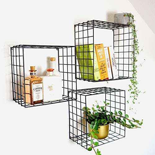 Kimisty Set of 3 Metal Floating Shelves | Decorative Wire Large Square Wall Mounted Shelf | Box Free Floating Mesh Shelves | Industrial Style Deep Black Metal Shelving | 14, 12, 11 Inch Long