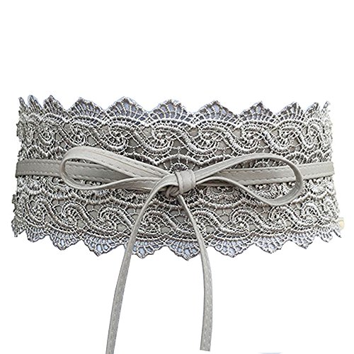 Women's Lace Waist Belt Bow Tie Wrap Around Soft Leather Boho Corset Fashion Elegant for Dresses (Gray) ()