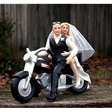 Motorcycle Cake Topper BALD Groom -- By Magical Day