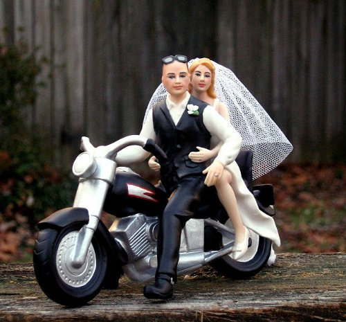 - Motorcycle Cake Topper BALD Groom -- By Magical Day