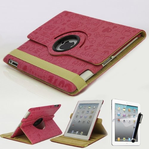 Mecasy_iPad 4 4G 3 2 360 Rotating Swirl Rotational Embossed Cute Cartoon Leather Case Smart Cover Hot Pink