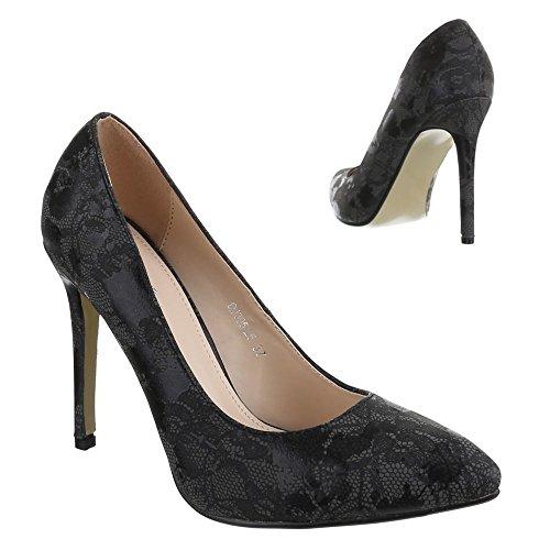 Ital-Design High Heel Damen Schuhe Geschlossen Pfennig-/Stilettoabsatz High Heels Pumps Schwarz