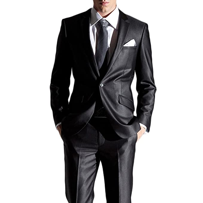 Amazon.com: cmdc de los hombres negro de dos piezas Vestido ...