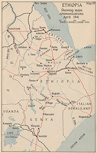 Amazon ww2 east african campaign ethiopia main communications ethiopia main communications april 1941 1956 old map gumiabroncs Images