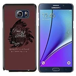 Caucho caso de Shell duro de la cubierta de accesorios de protecci¨®n BY RAYDREAMMM - Samsung Galaxy Note 5 5th N9200 - Plumas Sombrero indios Casta?o