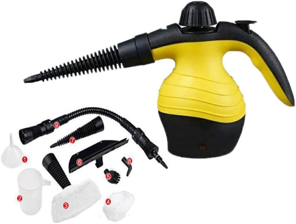 HZHHH De Mano del Limpiador del Vapor a presión, Multiusos de Vapor, Plancha de Vapor, 9 Piezas Juego de Accesorios de Limpieza Inicio automático (Amarillo)
