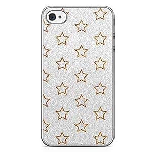 Glitter iPhone 4s Tranparent Edge Case - Silver Stars