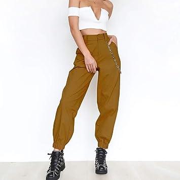 prix super mignon la qualité d'abord ZZDJA Pantalon en Lin décontracté pour Femme, Taille Haute ...