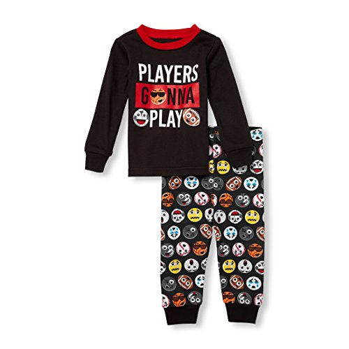 The Children's Place Baby Boys 2 Piece Long Sleeve Pajama Set, Black, 3-6MONTHS