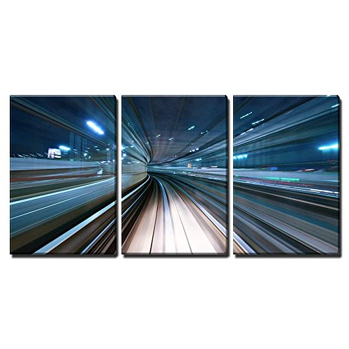 - wall26 - 3 Piece Canvas Wall Art - Motion Blur of a City and Tunnel from Inside a Moving Monorail in Tokyo. - Modern Home Decor Stretched and Framed Ready to Hang - 16
