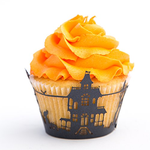 Cupcake Wrappers Haunted House x50pcs. 3 scary wraps to choose in shimmering black (Scary Houses)