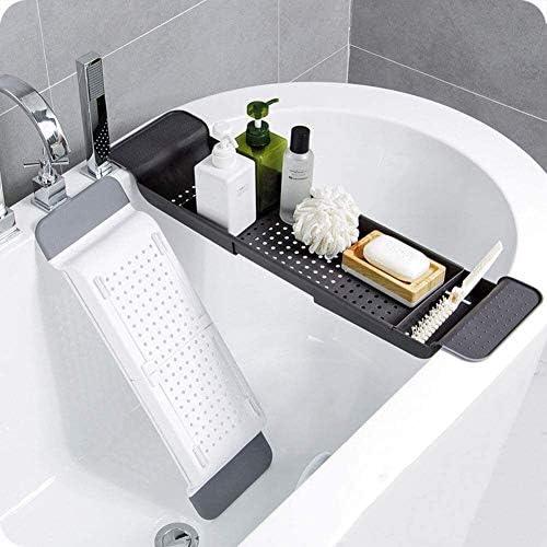 プラスチックバスタブキャディトレイ、任意のサイズのバスタブタブレットホルダー携帯トレイ及びワイングラスホルダーについてバスタブトレイ (Color : B)